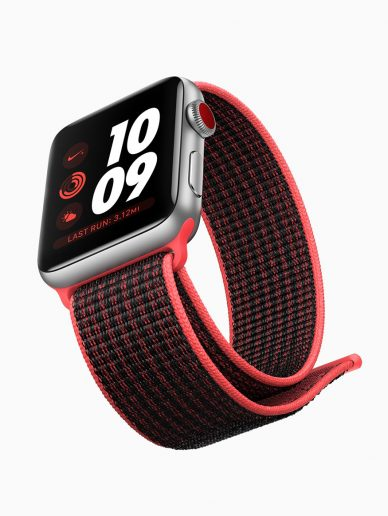 red and black Apple watch series_]3