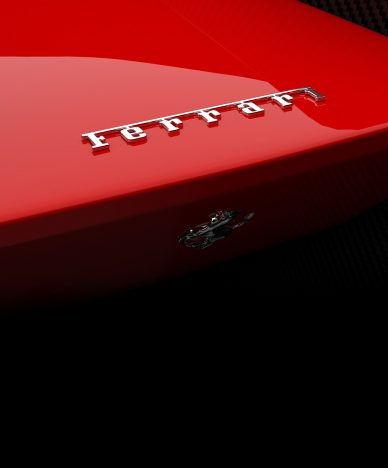 red ferrari with logo