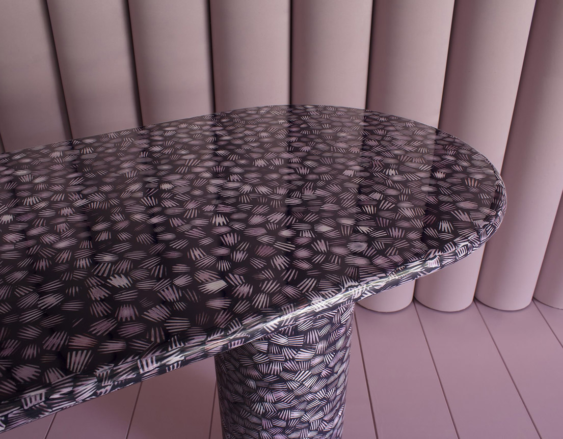 bethan gray pink scallop shell desk table