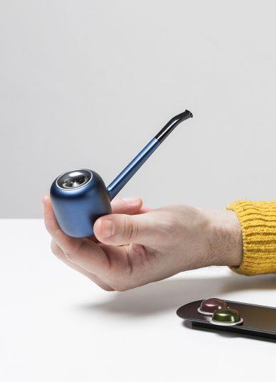 blue designer pipe