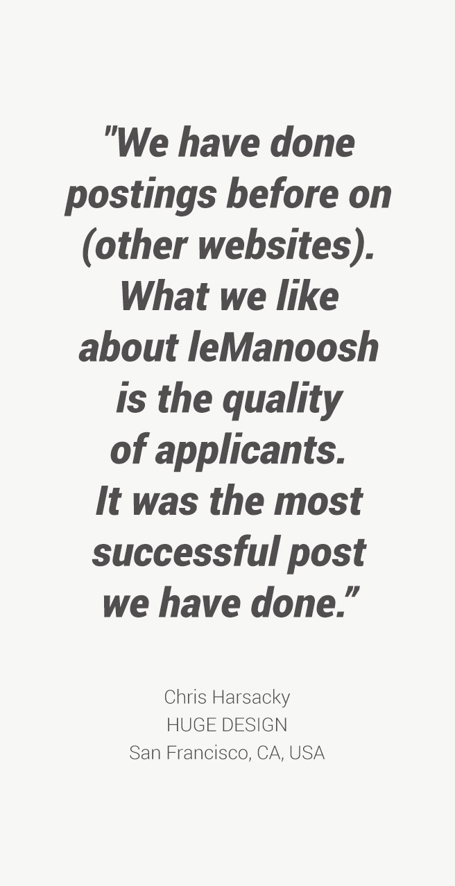 leManoosh job Board testimonies Huge Design