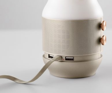 wired beige gold lexon terrace speaker by elium studio