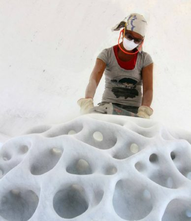 organic marble sculpture by sibylle pasche