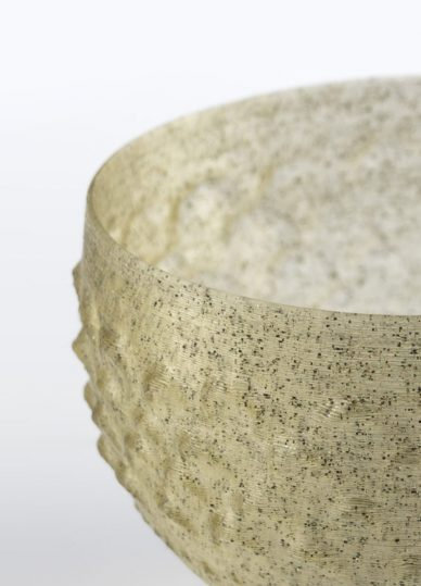 historical glassware with 3d printed algae